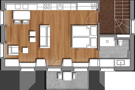b6 2 og 2 personen 43m2. Black Bedroom Furniture Sets. Home Design Ideas